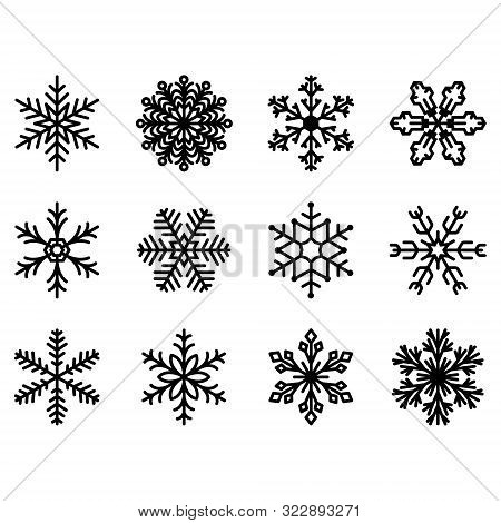 Winter Set Of Snowflakes. Snowflake Icons. Snowflakes Collection For Design Christmas And New Year B