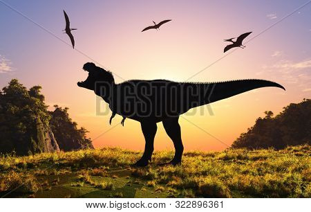 Giant dinosaur in the background of the colorful sky.,3d render