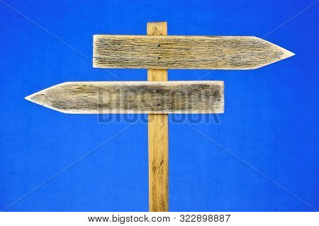 Signs Arrows Directions On The Pole. Options For Future Options For Success. Alternative Choice For