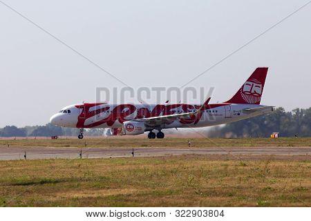 Borispol, Ukraine - September 10, 2019: Ei-lix Ernest Airbus A320-200 Aircraft Running To The Borisp