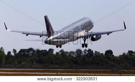 Borispol, Ukraine - September 10, 2019: A7-ahy Qatar Airways Airbus A320-200 Aircraft Departing From