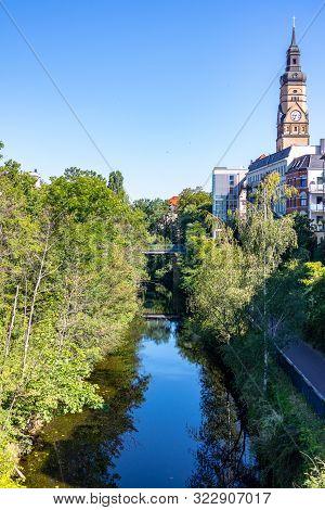 Picture From The Karl Heine Canal In The Scene District Plagwitz In Leipzig Between Center And Linde