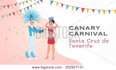 Canary Festival Flat Banner Vector Template. Young Latino Man And Woman In Beautiful Authentic Costu