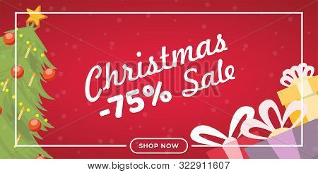 Christmas Sale Flat Banner Vector Template. Traditional Shopping Event Landing Page Concept, Winter