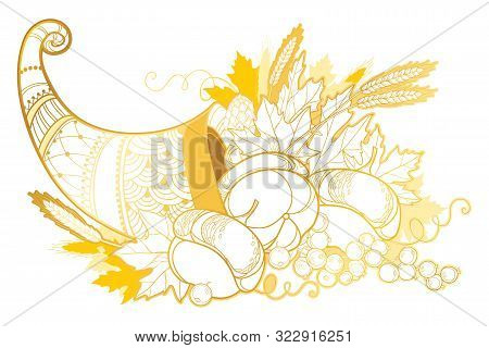 Vector Outline Gold Cornucopia Or Horn Of Plenty Full Of Pumpkin, Grape, Wheat And Maple Leaf Isolat