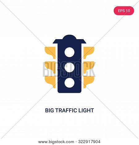 big traffic light icon in two color design style.