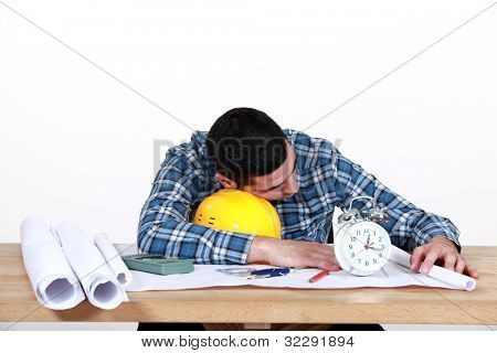 Draughtsman sleeping on the job