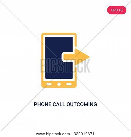 phone call outcoming icon in two color design style.