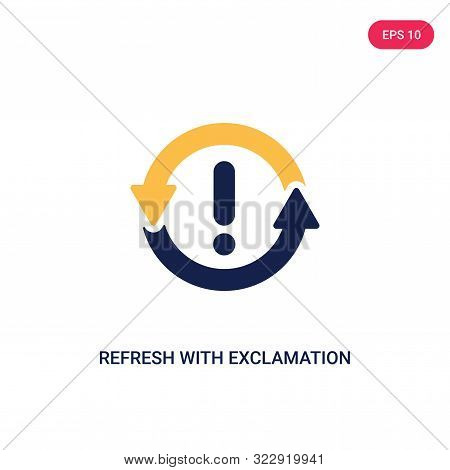 refresh with exclamation icon in two color design style.