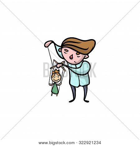 Puppeteer With Princess Wooden Puppet Vector Illustration