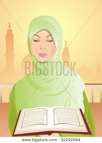 Young woman in hijab reading the holy book Quran on seamless mosque background. EPS 10. Vector illustration.