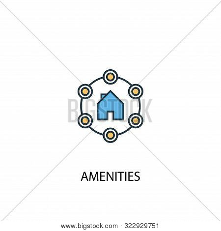 Amenities Concept 2 Colored Line Icon. Simple Yellow And Blue Element Illustration. Amenities Concep