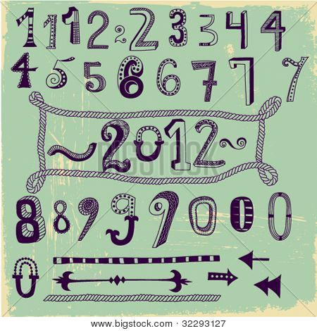 Whimsical Hand Drawn Numbers, from one to zero, with dashes, arrows and a hand drawn rope box