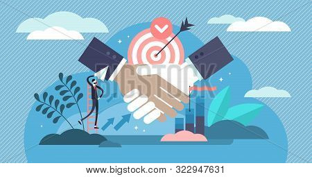 Partnership Vector Illustration. Flat Tiny Business Contract Persons Concept. Abstract Company Agree