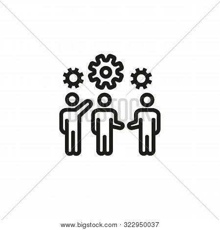 Efficient Team Work Line Icon. Team, Gearwheel, Interaction. Efficiency Concept. Vector Illustration