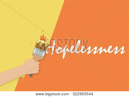 Hand Painting To Cover Hopelessness. Vector Illustration