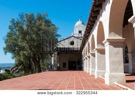 San Diego, California - April 1, 2017:  Junipero Serra Museum In Presidio Park, The Site Of The Firs