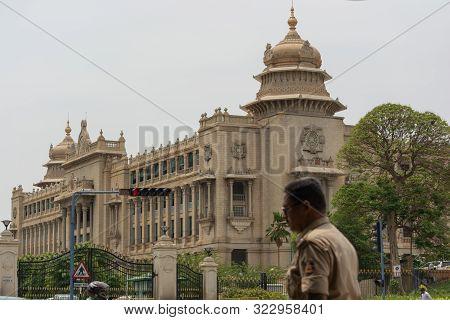 Bangalore, Karnataka India-june 04 2019 : Selective Focus On Vidhan Soudha And Traffic Signal With K