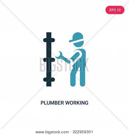 Plumber Working Icon In Two Color Design Style. Plumber Working Vector Icon Modern And Trendy Flat S
