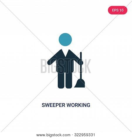 Sweeper Working Icon In Two Color Design Style. Sweeper Working Vector Icon Modern And Trendy Flat S