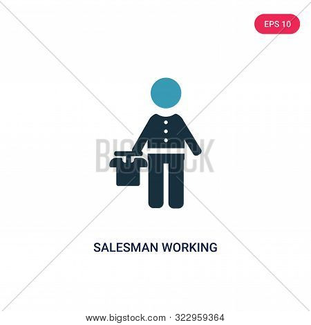 Salesman Working Icon In Two Color Design Style. Salesman Working Vector Icon Modern And Trendy Flat