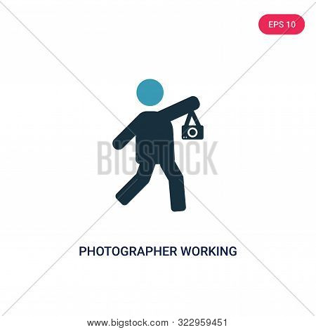 Photographer Working Icon In Two Color Design Style. Photographer Working Vector Icon Modern And Tre