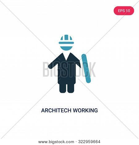 Architech Working Icon In Two Color Design Style. Architech Working Vector Icon Modern And Trendy Fl