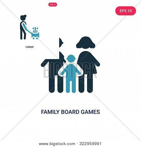 Family Board Games Icon In Two Color Design Style. Family Board Games Vector Icon Modern And Trendy