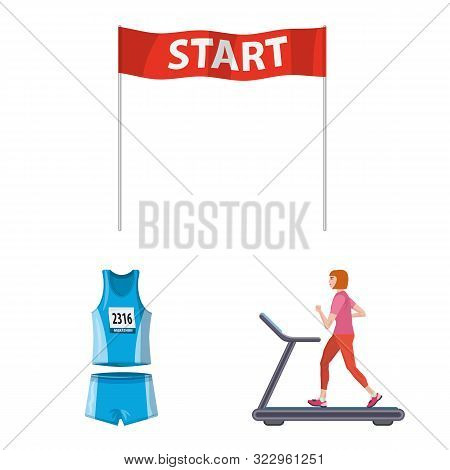 Vector Illustration Of Step And Sprint Icon. Set Of Step And Sprinter Stock Vector Illustration.