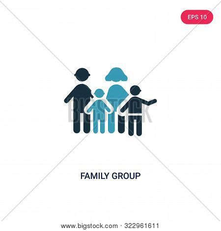 Family Group Icon In Two Color Design Style. Family Group Vector Icon Modern And Trendy Flat Symbol
