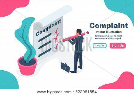 Complaint Concept Isometric Concept. Man Wrote A Complaint. Vector Illustration 3d Esign. Measures T