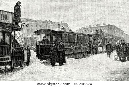 The first electric tram in St. Petersburg. Engraving by  Shliper . Published in magazine