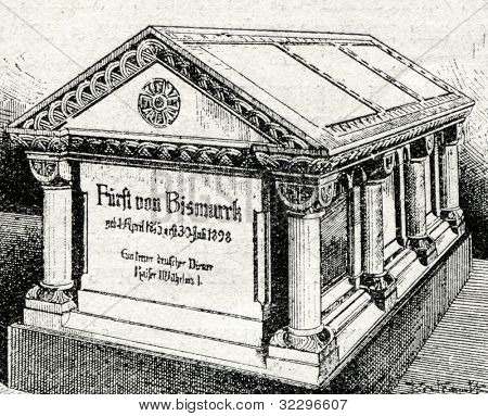 Bismarck Mausoleum. Engraving by Shliper. Published in magazine