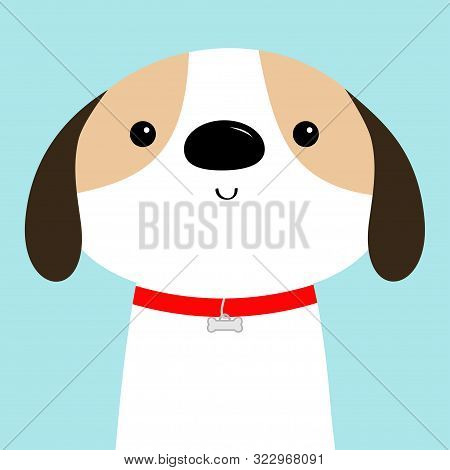 Dog Face Head. Red Collar. White Puppy Pooch. Cute Cartoon Kawaii Funny Baby Character. Flat Design