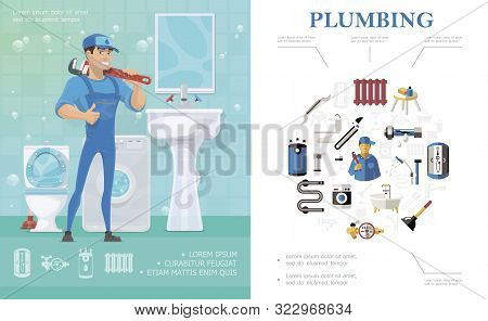 Plumbing Service Concept With Repairman Standing In Bathroom With Toilet Washbasin Washing Machine M
