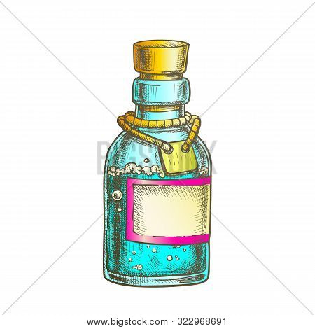 Bubbled Potion Elixir Bottle Vector. Glass Bottle With Blank Label On Planted Yarn. Poisonous Liquid