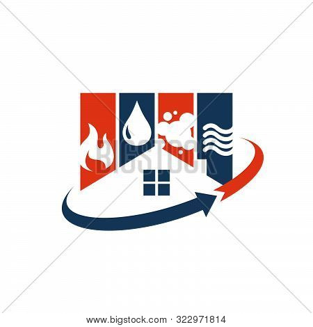Home Restoration Logo Design A Property Maintenance House Renovation Icon Vector