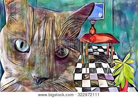 Contemporary art. Digital painting. Cat in living room. 3D rendering