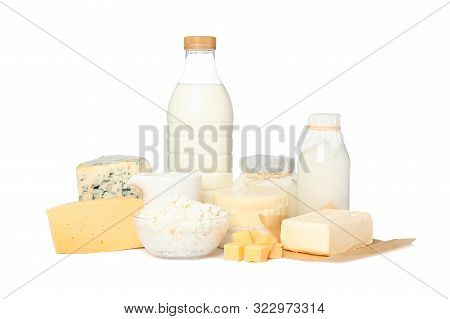 Fresh Dairy Products Isolated On White Background. Cheese, Milk, Butter
