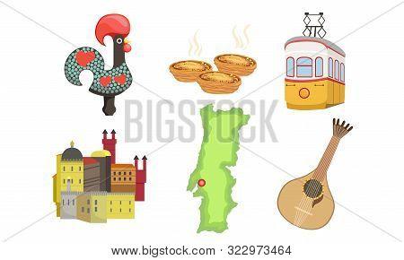 Traditional Cultural Portugal Symbols Set, Historical Signs Of Lissabon Illustration