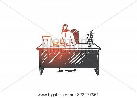 Remote Job, Freelance Concept Sketch. Personal Workspace, Home Workplace, Remote Business, Arab Free