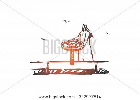 Petroleum Industry, Business Concept Sketch. Crude Oil Conduit Pipe, Gas Transportation Line, Fuel P