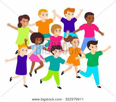 Group Of Cartoon Happy Multicultural Children Girl And Boy Joyfully Run. Cute Diverse Kids. Vector I