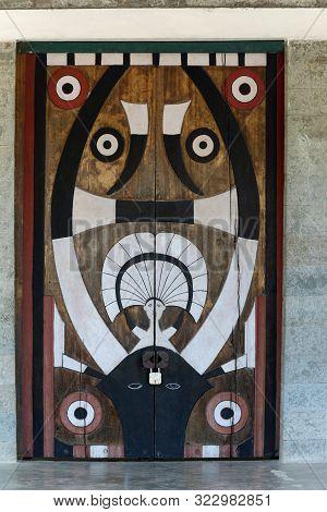 Traditional Naga Door Art At Khonoma Village, Nagaland, India.