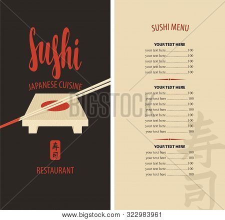 Vector Menu For Sushi Restaurant With Price List, Calligraphic Inscription Sushi, Wooden Tray And Ch