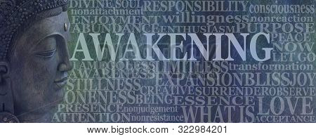 poster of Buddha Spiritual Awakening Word Tag Cloud - Deity Buddha head on left with the word AWAKENING beside surrounded by a word cloud on a rustic blue background