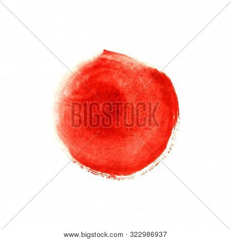 Abstract Circle Paint Stain Of Red Color Isolated On White Background. Watercolor Brush Stroke Splas