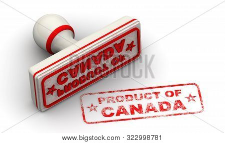 Product Of Canada. Seal And Imprint. The Seal And Red Imprint Product Of Canada On White Surface. Is