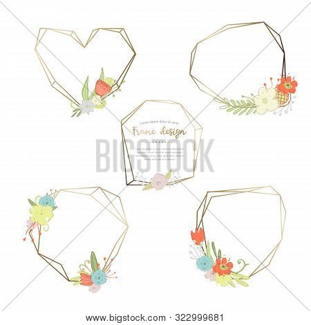 Vector Floral And Geometric Poligonal Frame Icon Sign Pictogram Isolated On A White Background