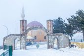 Prophets companion Adburrahman gazi mosque and tomb from forest in Erzurum, Turkey poster